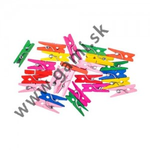 dekoračné štipce JUNIOR drevené farebné, 25mm, 25ks/bal.