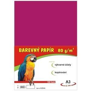 farebný papier A3, 80g, 100listov/bal.,ružový