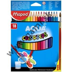 pastelky akvarelové MAPED Color Peps so štetcom, sada 18ks