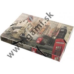 box na dokumenty s gumičkou A4, plastový, 30mm, LONDÝN