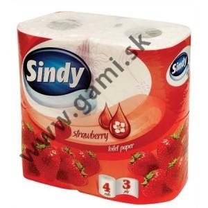toaletný papier SINDY Jahoda, 3-vrstvy, 4ks/bal.