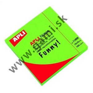 blok samolepiacich štítkov, APLI, 75x75mm, 100ks, neon-zelený