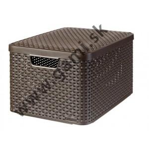 odkladací box CURVER, s efektom rattanu, 30l, tmavohnedý s vekom