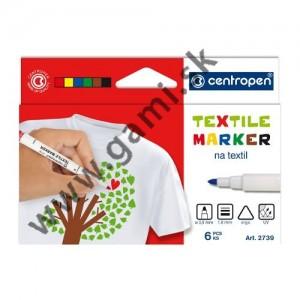 popisovače na textil CENTROPEN 2739, sada 6 ks