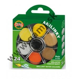 farby brilantné, 24 farieb, 22mm, okrúhle - ANILINKY