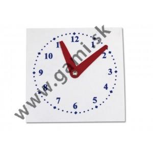 hodiny školské plastové, rozmer štvorca 10 x 10 cm