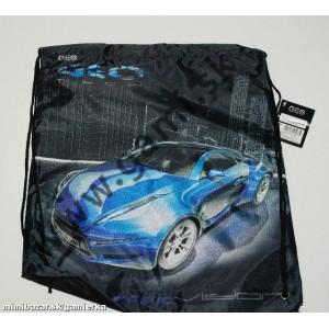 školské vrecko na prezuvky Auto modré, 39x31cm