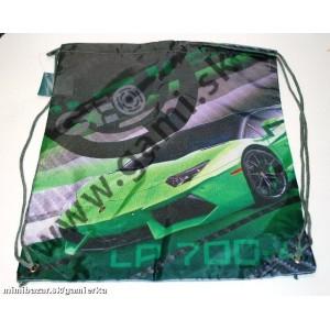 školské vrecko na prezuvky Auto zelené, 39x31cm