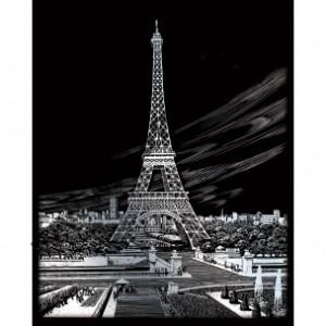 škrabací obrázok, 25x20cm, Eiffelova veža - strieborný