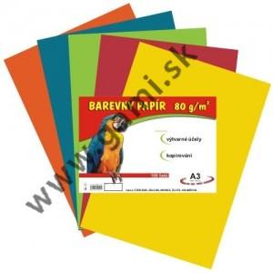 farebný papier A3, 80g, mix 5 farieb na kopírovanie, 100listov/bal. - dopredaj