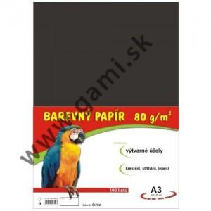 farebný papier A3, 80g, 100listov/bal., čierny