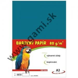 farebný papier A3, 80g, 100listov/bal., modrý