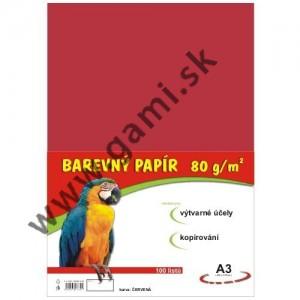 farebný papier A3, 80g, 100listov/bal., červený