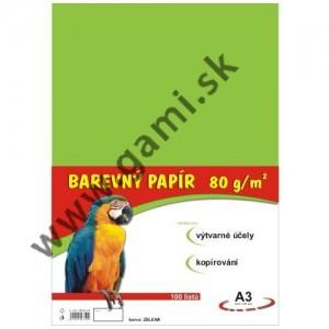 farebný papier A3, 80g, 100listov/bal., zelený