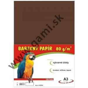 farebný papier A3, 80g, 100listov/bal., hnedý