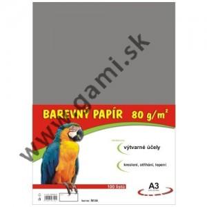 farebný papier A3, 80g, 100listov/bal., šedý